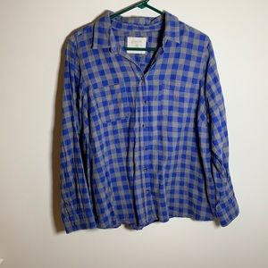 Sonoma blue and grey checkered button down top